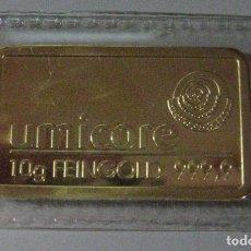 Reproducciones billetes y monedas: LINGOTE EMBLISTADO ** UMICORE ** DE 10 G. FEINGOLD 999,9. Lote 244971795