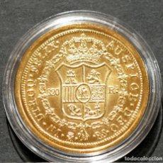 Reproducciones billetes y monedas: REPRODUCCIÓN MONEDA DE ORO ESPAÑA 320 REALES 1810 MADRID JOSÉ NAPOLEÓN METAL CON BAÑO DE ORO PURO. Lote 245155405