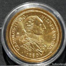 Reproducciones billetes y monedas: BONITA REPRODUCCIÓN MONEDA DE ORO 8 ESCUDOS 1760 MADRID CARLOS III ESPAÑA METAL BAÑO DE ORO. Lote 245156245