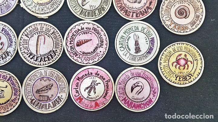 Reproducciones billetes y monedas: CARTON MONEDA USO PROVISIONAL 47 DIFERENTES DE GUADALAJARA (ver fotos) - Foto 8 - 245436170