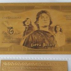 Reproducciones billetes y monedas: BILLETE DE HARRY POTTER, ORO DE 24 K. CON CERTIFICADO DE GARANTÍA.. Lote 245565210