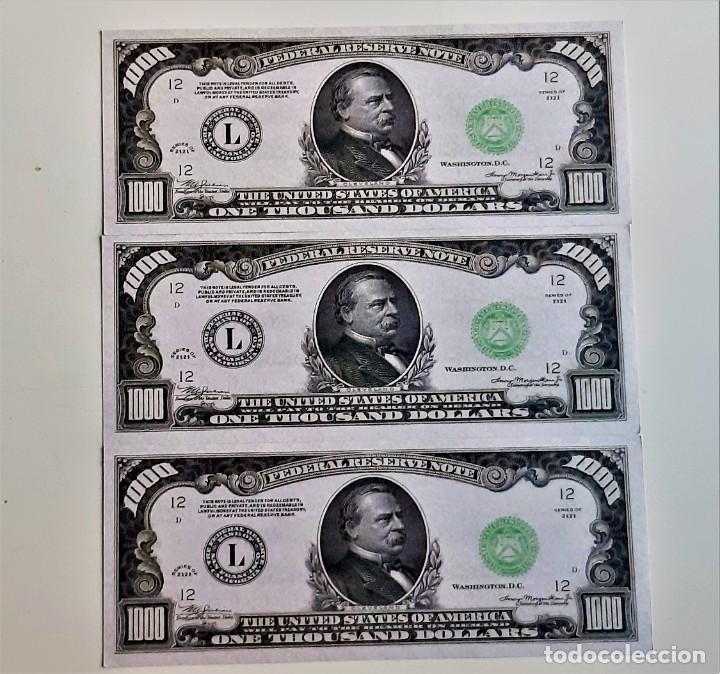USA 1000 DOLLARS 3 BILLETES DE PAPEL (FANTASIA) (Numismática - Reproducciones)