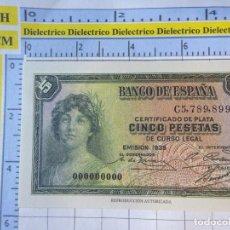 Reproducciones billetes y monedas: BILLETE FACSÍMIL. COLECCIÓN TODOS LOS BILLETES DE LA PESETA. 1935 5 PESETAS. Lote 245936795