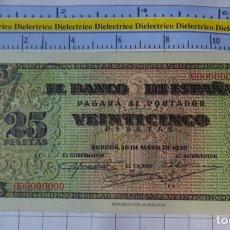 Reproducciones billetes y monedas: BILLETE FACSÍMIL. COLECCIÓN TODOS LOS BILLETES DE LA PESETA. BURGOS 20 MAYO 1938 25 PESETAS. Lote 245937220