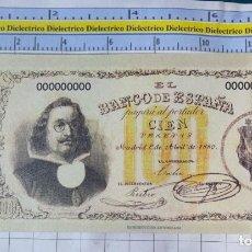 Reproducciones billetes y monedas: BILLETE FACSÍMIL. COLECCIÓN TODOS LOS BILLETES DE LA PESETA. MADRID 1 ABRIL 1880 100 PESETAS. Lote 245937285