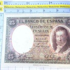 Reproducciones billetes y monedas: BILLETE FACSÍMIL. COLECCIÓN TODOS LOS BILLETES DE LA PESETA. MADRID 25 ABRIL 1931 25 PESETAS. Lote 245937430