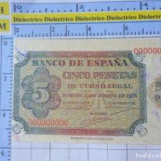 Reproducciones billetes y monedas: BILLETE FACSÍMIL. COLECCIÓN TODOS LOS BILLETES DE LA PESETA. BURGOS 10 AGOSTO 1938 5 PESETAS. Lote 245939020