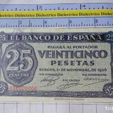 Reproducciones billetes y monedas: BILLETE FACSÍMIL. COLECCIÓN TODOS LOS BILLETES DE LA PESETA. BURGOS 21 NOVIEMBRE 1936 25 PESETAS. Lote 245939445