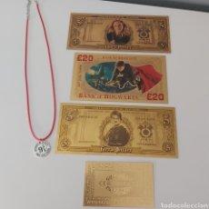 Reproducciones billetes y monedas: AMANTES DE HARRY POTTER!!! LOTE DE 3 BILLETES DE LA SAGA Y REGALO COLGANTE! EN VENTA DIRECTA 49 EUR!. Lote 245982740