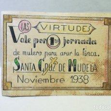 Reproducciones billetes y monedas: LAS VIRTUDES. VALE POR UNA JORNADA DE MULERO PARA ARAR LA FINCA. SANTA CRUZ DE MUDELA. 1938.. Lote 246155165