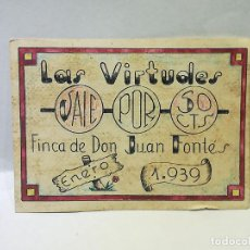 Reproducciones billetes y monedas: LAS VIRTUDES. VALE DE 50 CENTIMOS. FINCA DE DON JUAN FONTES. 1939. VER DORSO. Lote 246156125
