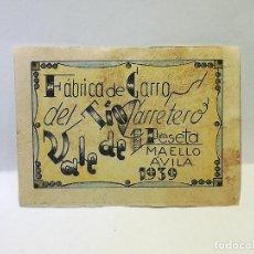 Reproducciones billetes y monedas: FABRICA DE CARROS DEL TIO CARRETERO. VALE DE 1 PESETA. 1939. MAELLO, AVILA. VER DORSO. Lote 246156460