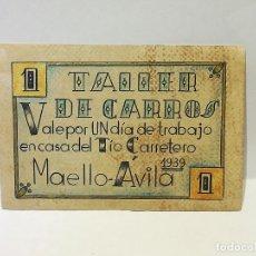 Reproducciones billetes y monedas: TALLER DE CARROS. VALE POR 1 DIA DE TRABAJO EN CASA DEL TIO CARRETERO. 1939. MAELLO, AVILA. Lote 246156850