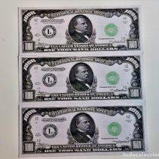 Reproducciones billetes y monedas: USA 1000 DOLLARS 3 BILLETES DE PAPEL (FANTASIA). Lote 262257480