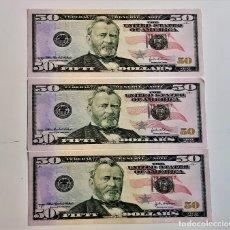 Reproducciones billetes y monedas: USA 50 DOLLARS 3 BILLETES DE PAPEL (FANTASIA). Lote 262257420