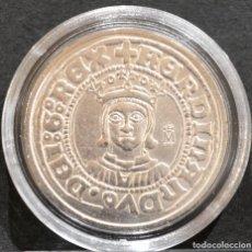 Reproducciones billetes y monedas: BONITA REPRODUCCIÓN MONEDA MEDIO REAL ZARAGOZA FERNANDO II ESPAÑA METAL BAÑO EN PLATA FINA. Lote 265667049