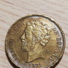 Riproduzioni banconote e monete: MONEDA FALSA DE EPOCA 5 PESETAS 1871 SDM - COBRE - 22,18G - AMADEO I. Lote 251424595