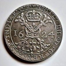 Reproducciones billetes y monedas: 1624 ESPAÑOL PAÍSES BAJOS PATAGON-PHILIP IV 2 FLORINES 8 SOLA - 40.MM DIAMETRO - 26.72.GRAMOS. Lote 277118543