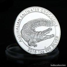 Reproducciones billetes y monedas: 1 DOLAR DE PLATA AUSTRALIA 2015 COCODRILO AUSTRALIANO DE AGUA SALADA. Lote 252185115