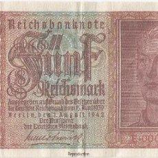 Reproducciones billetes y monedas: ALEMANIA - GERMANY 5 REISCHMARK 1942 FACSIMIL. Lote 252960525