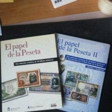 Reproducciones billetes y monedas: EL PAPEL DE LA PESETA I Y II. 80 BILLETES FACSIMIL FNMT. Lote 253007910