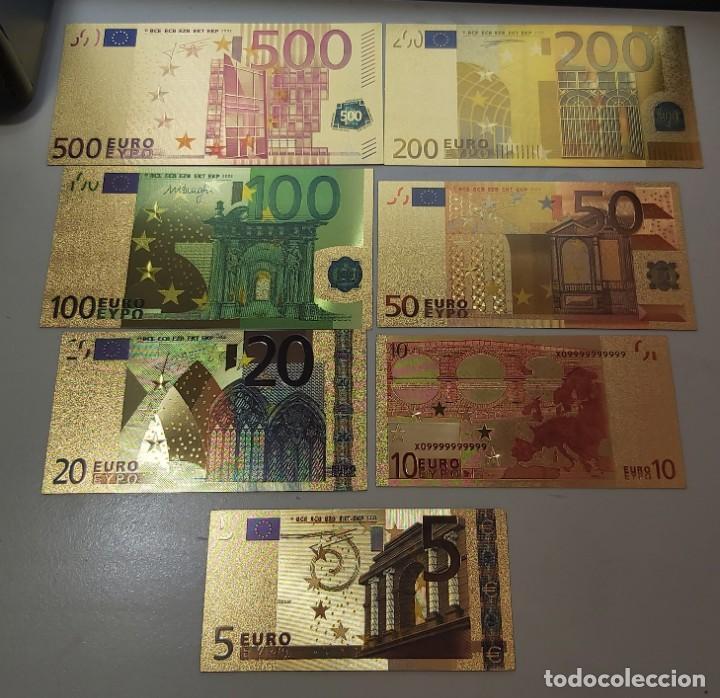COLECCIÓN DE 7 BILLETES DE EUROS. (Numismática - Reproducciones)