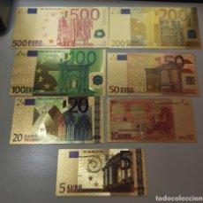 Reproducciones billetes y monedas: COLECCIÓN DE 7 BILLETES DE EUROS.. Lote 252541425