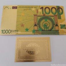 Reproductions billets et monnaies: PRECIOSO BILLETE DE 1000 EUROS, CON CERTIFICADO DE AUTENTICIDAD. Lote 253655745