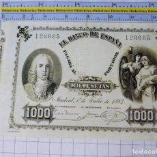 Reproductions billets et monnaies: BILLETE FACSÍMIL DE ESPAÑA. MADRID 1 JULIO 1884 1000 PESETAS. Lote 254286470