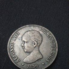 Reproducciones billetes y monedas: MONEDA 5 PESETAS ALFONSO XLLL 1890 COPIA. Lote 257741055