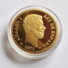 Reproducciones billetes y monedas: MONEDA ORO 100 PESETAS AMADEO I REY DE ESPAÑA 1871. Lote 257764610
