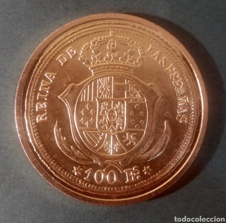 100 REALES DE ISABEL II (RÉPLICA). 1855 (Numismática - Reproducciones)