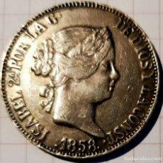 Reproducciones billetes y monedas: ISABEL II 10 REALES 1858 SEVILLA PLATA. PIEZA A REVISAR DESPACIO.. Lote 261938250