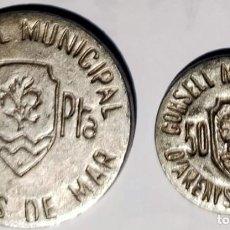 Reproducciones billetes y monedas: LOTE DE 2 PIEZAS. ARENYS DE MAR. 50 CENTIMOS Y 1 PESETA.1937. REPRODUCCIONES. Lote 261942165