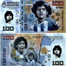 Reproducciones billetes y monedas: RUSIA 100 RUBLOS 2020 DIEGO MARADONA LEYENDA MUNDIAL DEL FUTBOL TEST POLYMER UNC. Lote 261994110