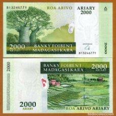 Reproducciones billetes y monedas: MADAGASCAR 2000 ARIARY (2009) P-90 UNC (LEER CONDICIONES DE VENTA EN DESCRIPCION). Lote 262125140