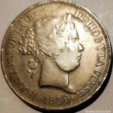 Reproducciones billetes y monedas: 20 REALES DE 1859 MADRID ISABEL II. PIEZA A REVISAR DESPACIO.. Lote 262133315