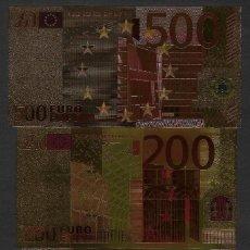 Reproduções notas e moedas: BILLETES EURO - REPRODUCCIÓN EN ORO. LOS 7 BILLETES EURO NUEVOS CON CERTIFICADO. Lote 262978095