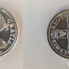 Reproducciones billetes y monedas: VIGO - CHELIN PLATA INGLATERRA REINA ANNA 1703 CONMEMORATIVA BATALLA DE RANDE - ACUÑACION OFICIAL. Lote 263766725