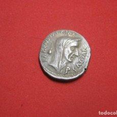 Reproduções notas e moedas: ROMAN REPUBLIC. C. COSSUTIUS MARIDIANUS (JULIUS CAESAR). 44 BC. AR DENARIUS, 3.42 G. Lote 264288976