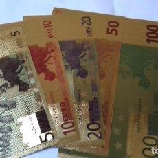 Reproducciones billetes y monedas: COLECCION DE EUROS EN ORO LAMINADO. Lote 265533014