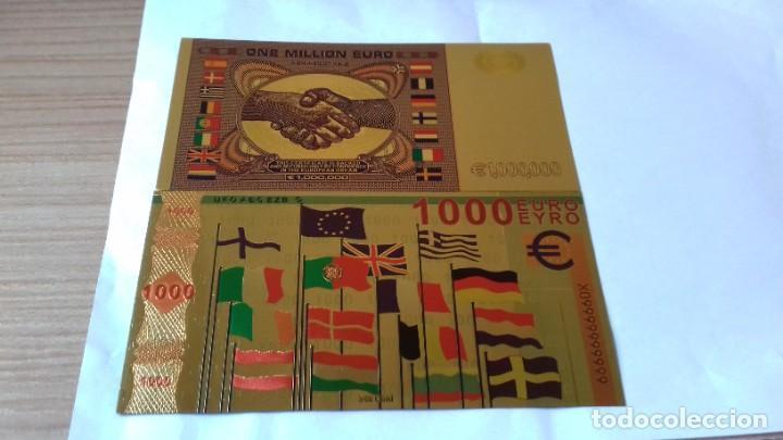 Reproducciones billetes y monedas: Coleccion de Euros en oro laminado - Foto 6 - 265533014