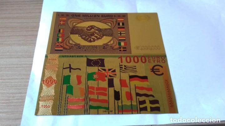 Reproducciones billetes y monedas: Coleccion de Euros en oro laminado - Foto 7 - 265533014