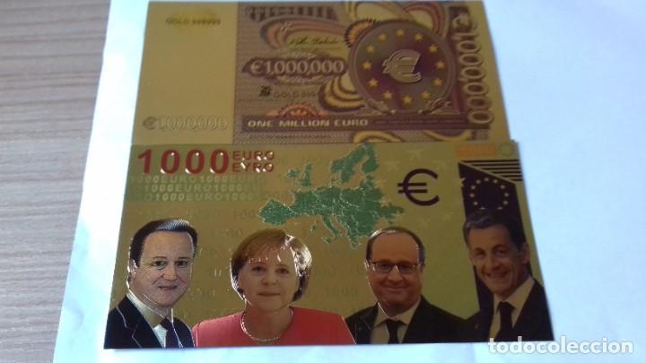 Reproducciones billetes y monedas: Coleccion de Euros en oro laminado - Foto 9 - 265533014