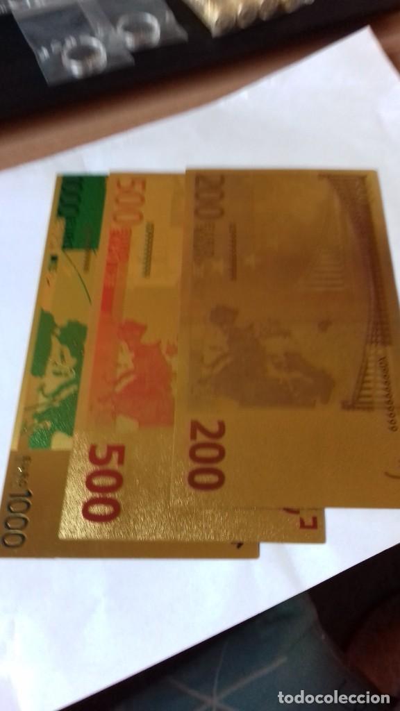 Reproducciones billetes y monedas: Coleccion de Euros en oro laminado - Foto 10 - 265533014