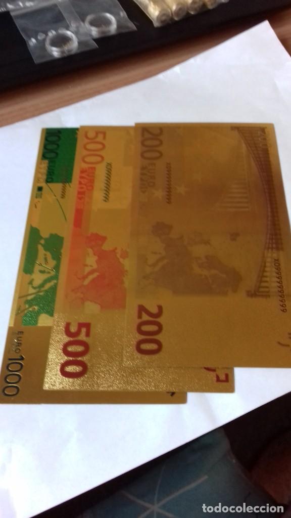 Reproducciones billetes y monedas: Coleccion de Euros en oro laminado - Foto 11 - 265533014