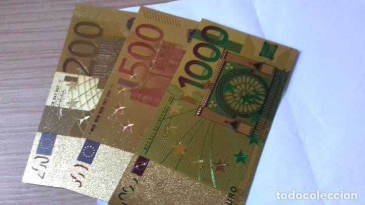Reproducciones billetes y monedas: Coleccion de Euros en oro laminado - Foto 12 - 265533014