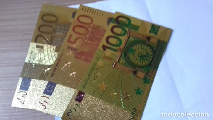 Reproducciones billetes y monedas: Coleccion de Euros en oro laminado - Foto 13 - 265533014