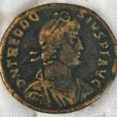 Reproducciones billetes y monedas: REPRODUCCION DE UNA MONEDA DE BAJO IMPERIO DE TEODOSIO. Lote 265575519