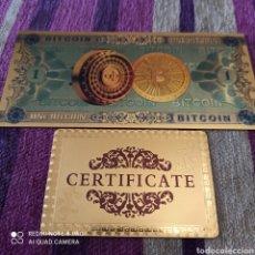 Reproduções notas e moedas: BITCOIN, BILLETE EN ORO LAMINADO DE 24K, CON CERTIFICADO DE AUTENTICIDAD. Lote 265819524